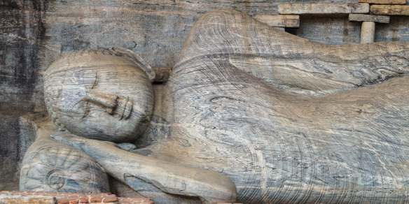 close up of the reclining Buddha - Gal Vihara at Polonnaruwa