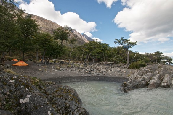 camp area at Refugio Grey in Chilean Patagonia