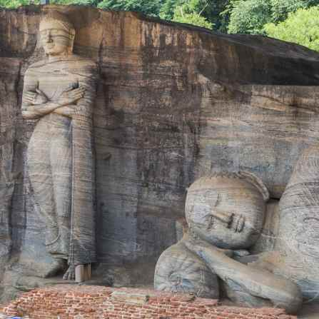 Gal Vihara's standing and reclining Buddha sculptures