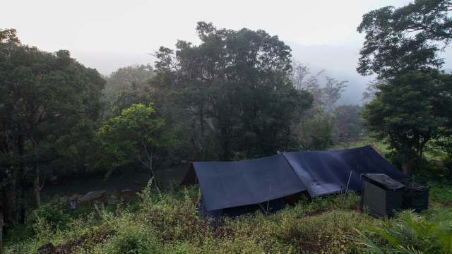 Knuckles Range sleeping tents and toiet:shower area