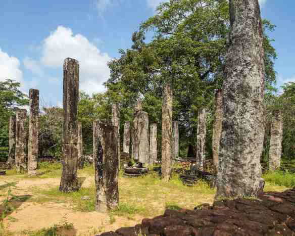 pillars and standing Buddha in Polonnaruwa's Sacred Quadrangle