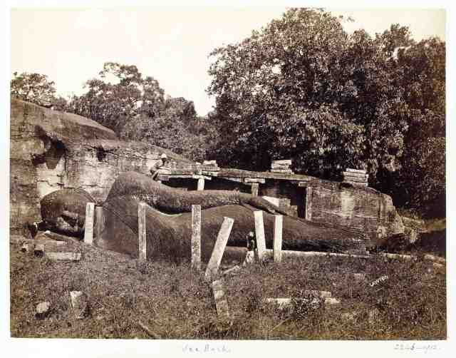 reclining Buddha figure at Gal Vihara in Polonnaruwa - photo by Joseph Lawton circa 1870