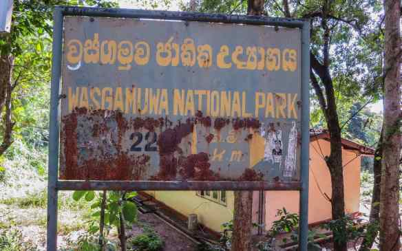 sign for nearby Wasgamuwa National Park