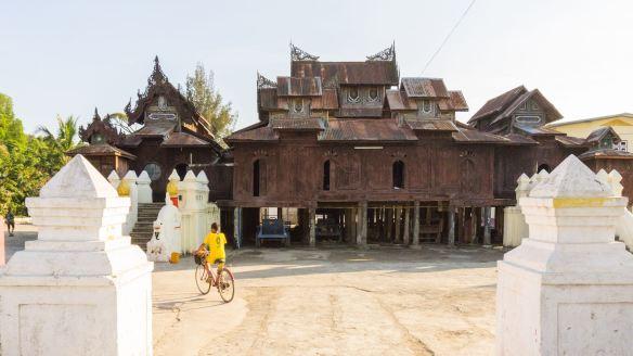 a side view of the Shwe Yaunghwe Kyaung's teak ordination hall