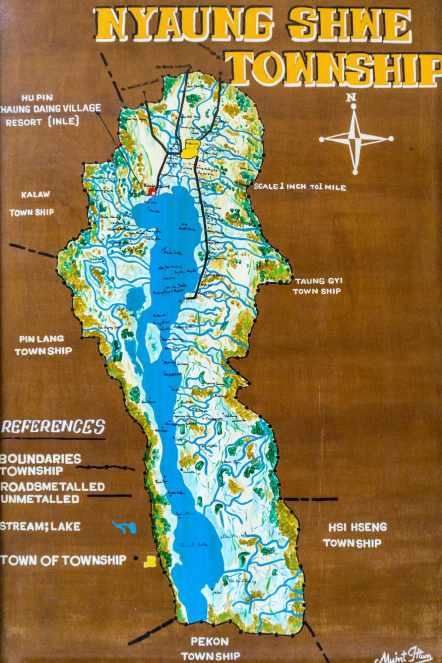our hotel poster of Inle Lake and its attractions