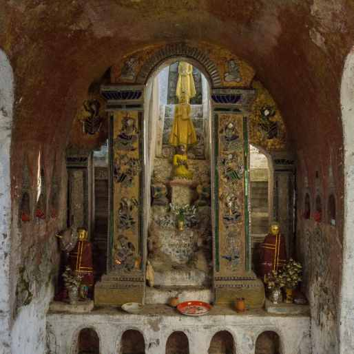 shrine inside the image collection house at Shwe Yaunghwe Kyaung