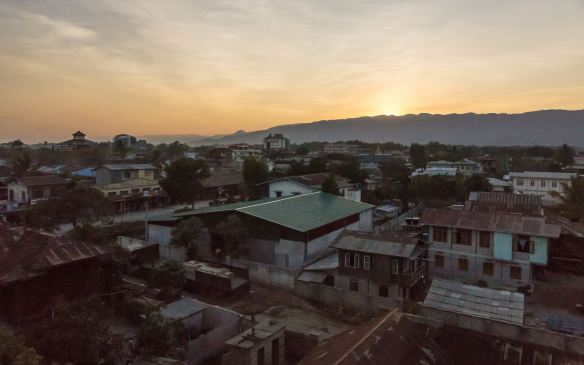 the rooftops of downtown Nyaung Shwe from the hotel's 4th floor