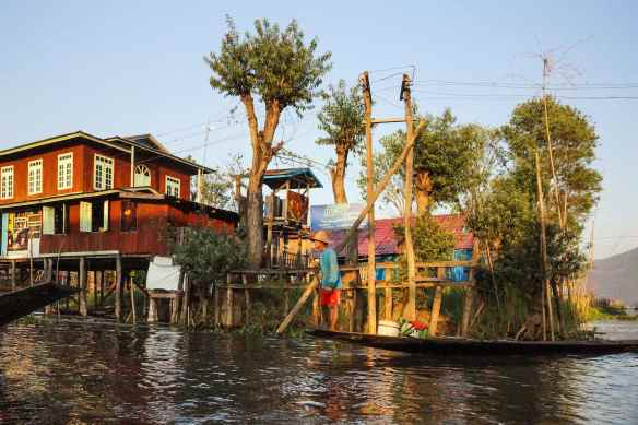 buildings and boats on Inle Lake