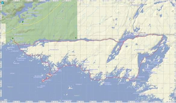 Philip Edward Island canoe trip route