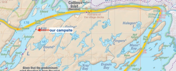 Collins Inlet campsites on Jeff's Killarney map