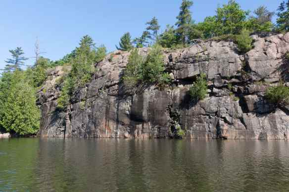 Collins Inlet - stretch of rock with pictographs
