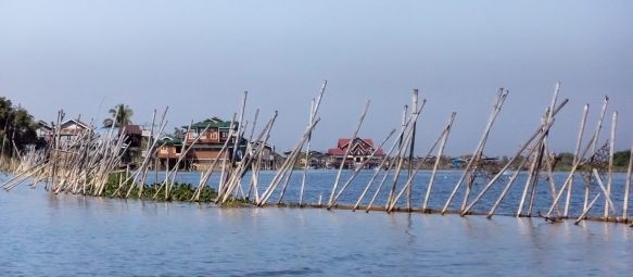 dam stretching out into Inle lake