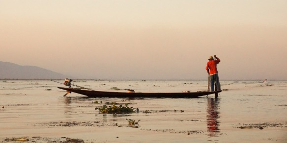 fisherman on Inle Lake - end of the afternoon