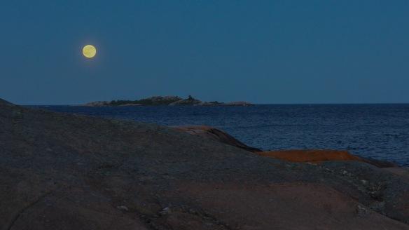 full moon east of Martin's Island Georgian Bay