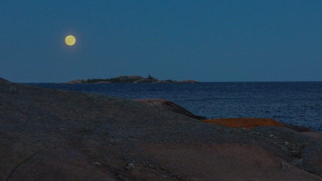full moon east of Martin's Island Georgian Bay