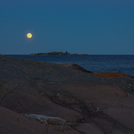 full moon looking east from Martin's island Georgian Bay