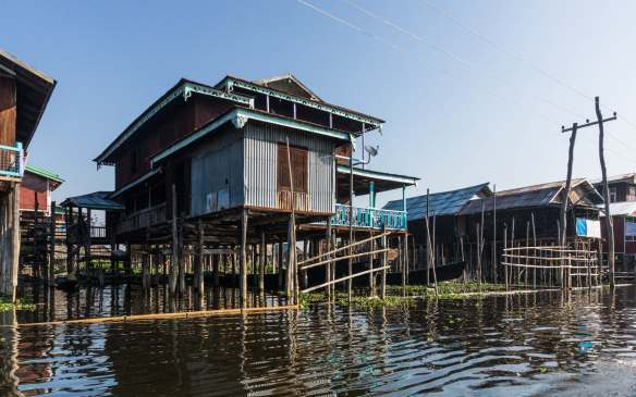 houses on stilts in Inle Lake