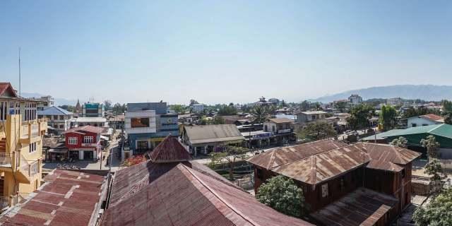 looking down on main street Nyaung Shwe