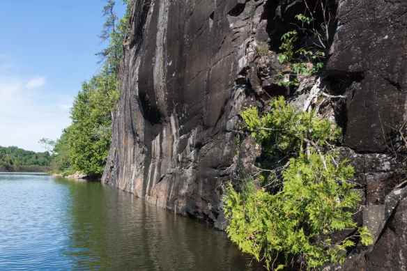 looking west the Collins Inlet rock face with the pictographs