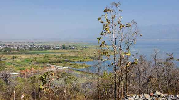 looking north to Nyaung Shwe from hilltop monastery by Hu Pin resort