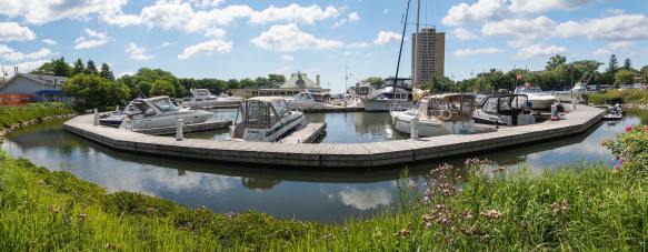 marina and restaurant on the east side of the Credit River