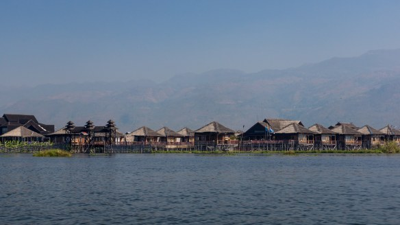 passing by Sky Lake Inle Resort on Inle Lake