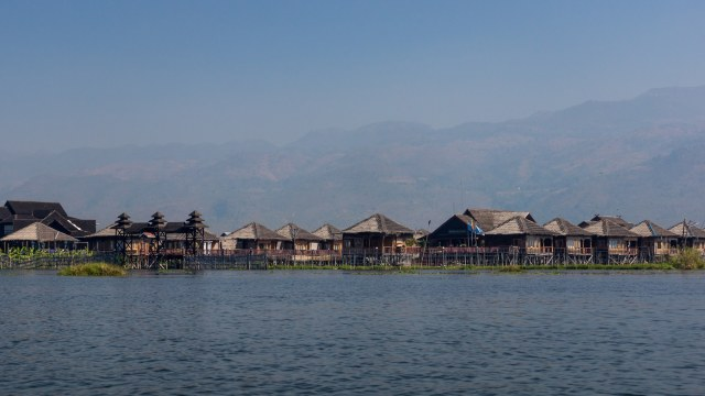passing by Sky Lake Inle Resort on Inle Lake