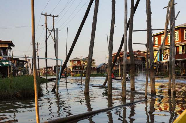 passing through a built-up area on Inle Lake