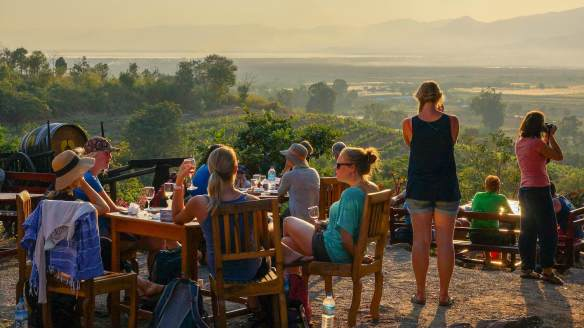 Red Mountain Estate wine tasters savouring the late afternoon