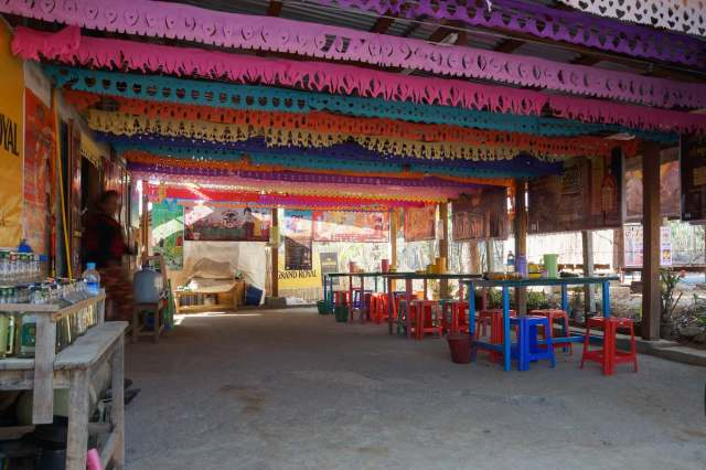 shaded eating area - corner store on the way to Khaung Daing