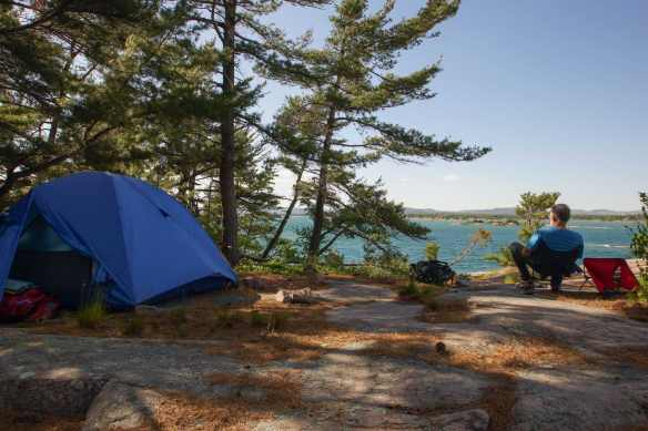 sheltered tent spot on Martin's island
