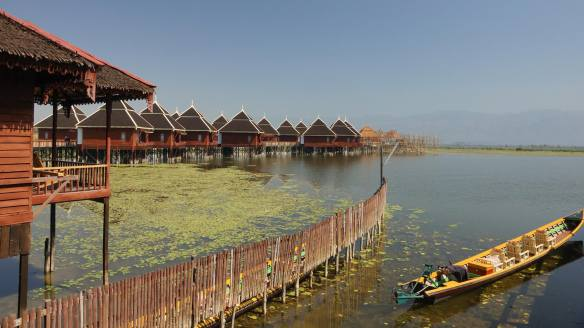 some of the Hu Pin Cottages on stilts on Inle Lake