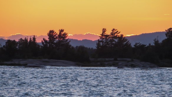 sunset from our Big Rock Bay campsite