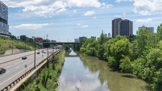 The Don Valley Expressway and River - bike trail on river right