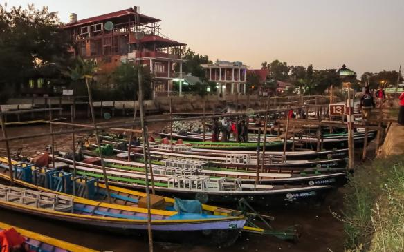 Tour Boats at the end of the day on Nyaungshwe's Nan Chaung (Main Canal)