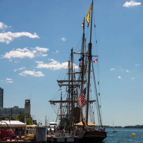 a rear view of the Pride of Baltimore at the TallShips Toronto event 2016