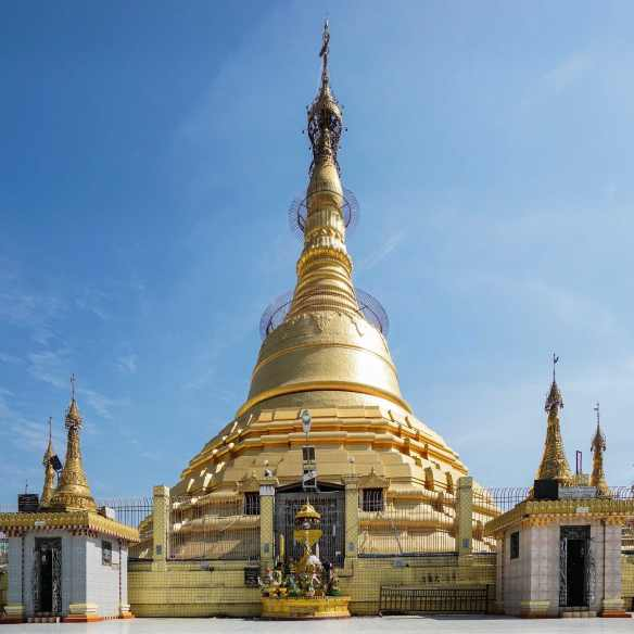 an overview of Rangoon's Botatuang stupa
