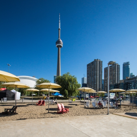 Toronto CN Tower and beach area by the ships