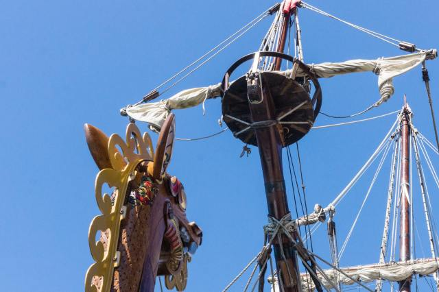Viking longship dragon head and Spanish galleon's crow's nest