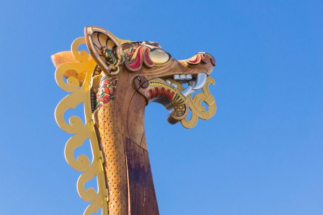 Viking Ship dragon head on the front end