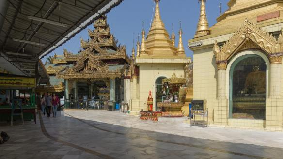 a view of the Sule Paya terrace with central stupa ion the right