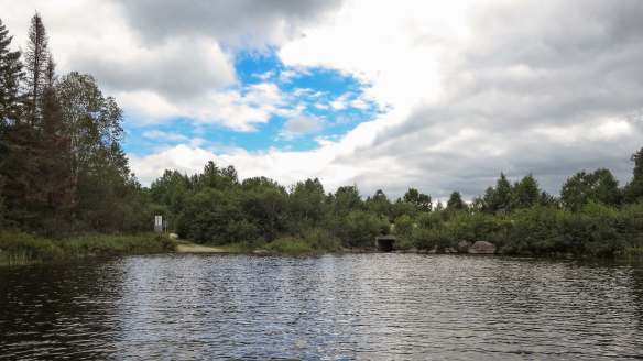 approaching the portage to Lac Grand and the bridge:culvert