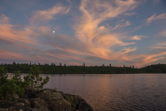 moon over Lac Grand on Day 1