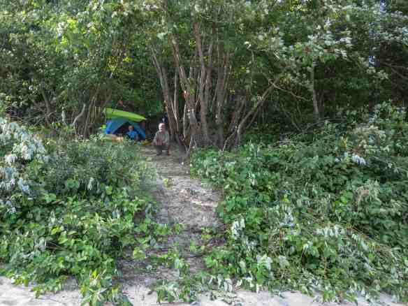 our newly created campsite at the bottom of Die Hard Rapids on the Coulonge