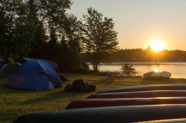sunrise on the Ottawa at Esprit Rafting base camp