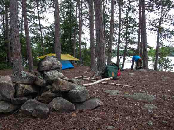 tent and tarp up on Lac Grand island