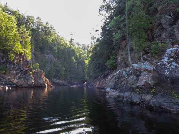 the bottom end of the gorge at les Chutes Coulonge -