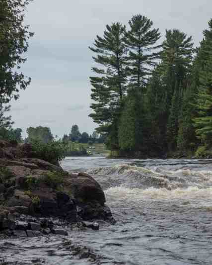the top of McCoy Rapids - portage on River right across Cedar island