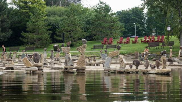 whimsical rock art catches our eye on the Ottawa