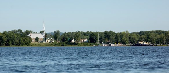 a view of Quyon - St. Patrick's to the ferry landing - from the Ontario side